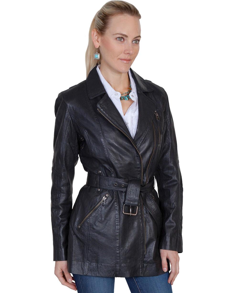Scully Leatherwear Washed Lamb Leather Adjustable Belt Coat, Black, hi-res