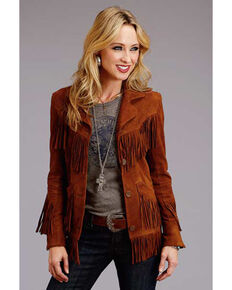 Stetson Women's Brown Suede Fringe Jacket, Brown, hi-res