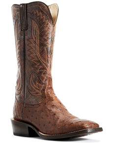 Ariat Men's Showman Full Quill Ostrich Western Boots - Wide Square Toe, Brown, hi-res