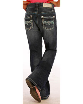 "Rock & Roll Cowgirl Girls' ""V"" Pocket Jeans - Boot Cut , Indigo, hi-res"