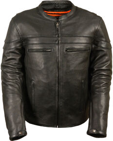 Milwaukee Leather Men's Black Sporty Scooter Crossover Jacket - Big - 4X, Black, hi-res