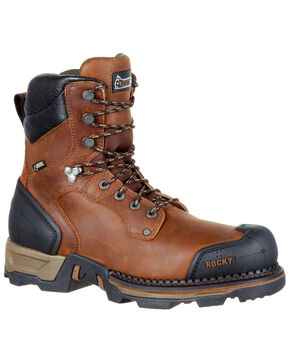 Rocky Men's Maxx Waterproof Outdoor Boots - Round Toe, Dark Brown, hi-res