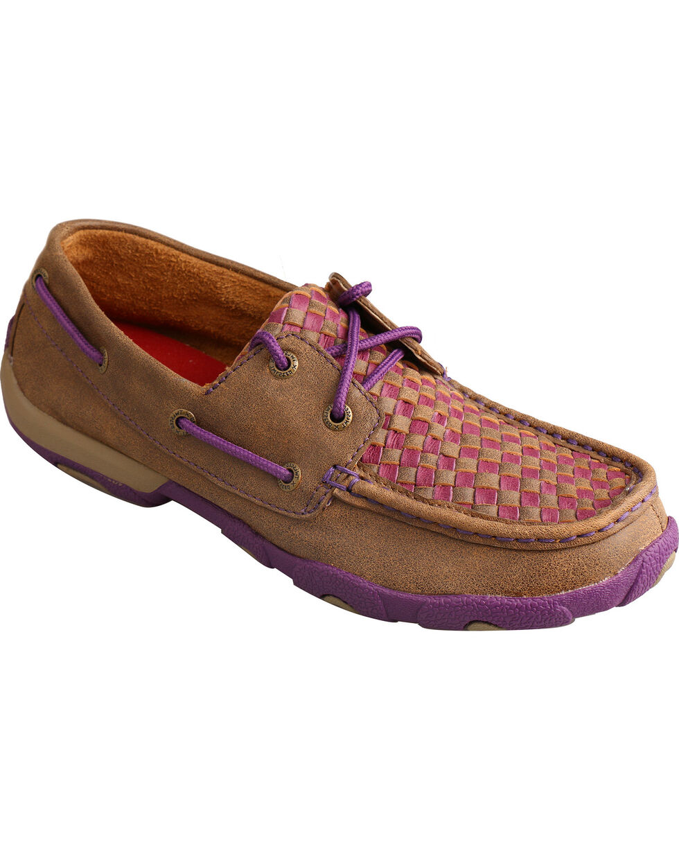 Twisted X Women's  Pattern Driving Mocs, Brown, hi-res