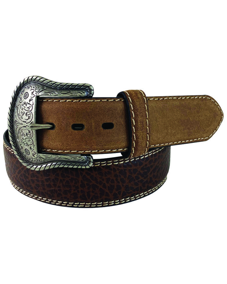 G Bar D Men's Brown Feathered Edge Leather Belt, Brown, hi-res