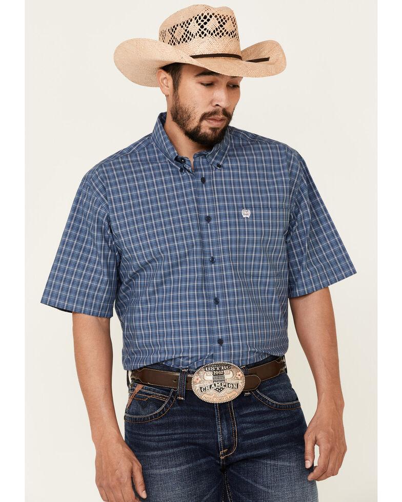 Cinch Men's Blue Med Plaid Button Short Sleeve Western Shirt , Blue, hi-res