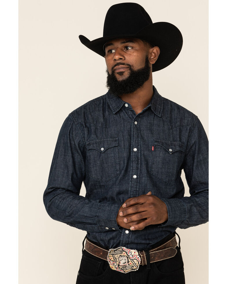 Levi's Men's Full Moon Dark Denim Long Sleeve Western Shirt , Black, hi-res