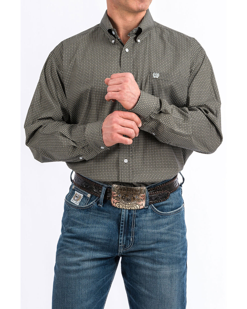 Cinch Men's Multi Diamond Geo Print Long Sleeve Western Shirt , Multi, hi-res