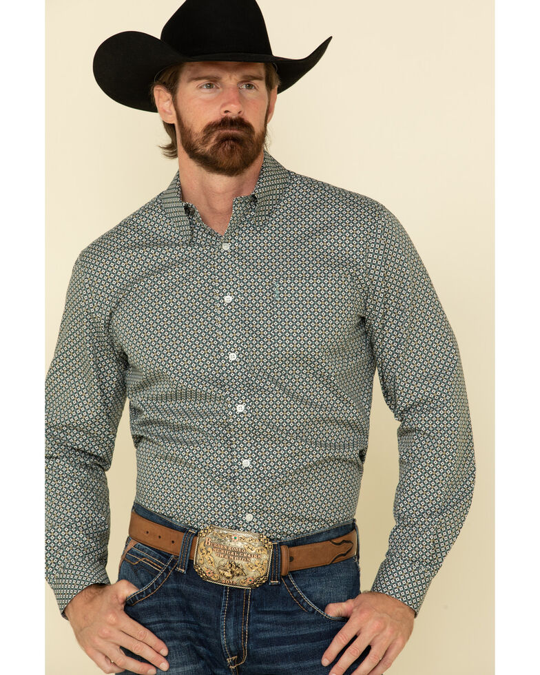 Cinch Men's Modern Fit Multi Small Geo Print Button Long Sleeve Western Shirt , Multi, hi-res