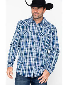 Cody James Men's Fogerty Plaid Long Sleeve Western Shirt , Navy, hi-res
