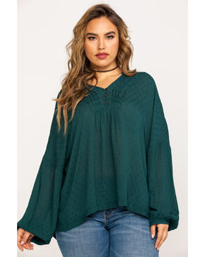 Eyeshadow Women's Pleated Button Front Dobby Crepe Blouse - Plus , Green, hi-res