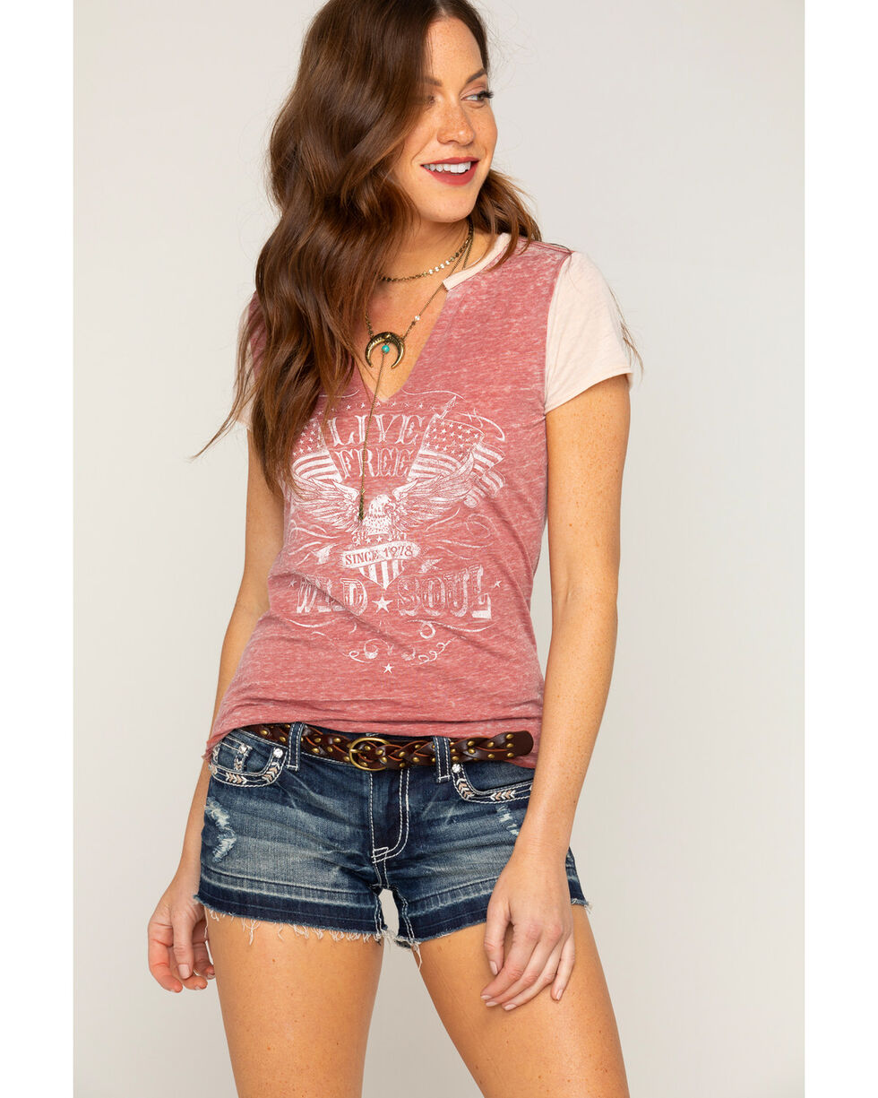 "Shyanne Women's ""Live Free"" Short Sleeve T-Shirt, Rust Copper, hi-res"
