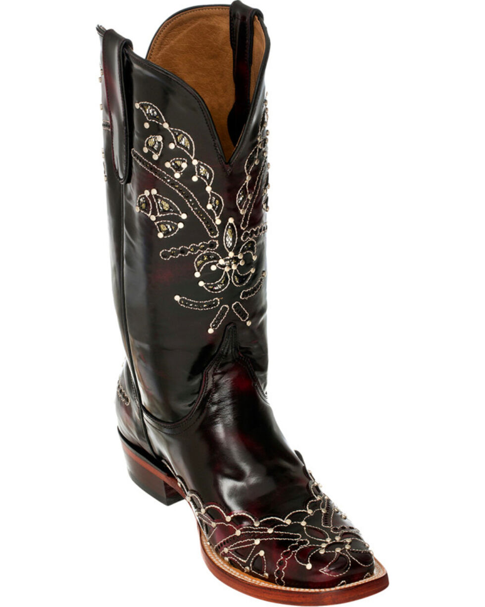Ferrini Black Cherry Wild Diva Cowgirl Boots - Square Toe, Black Cherry, hi-res