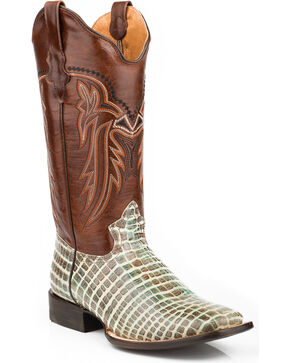 Roper Women's Embossed Crocodile Print Cowgirl Boots - Square Toe, Multi, hi-res