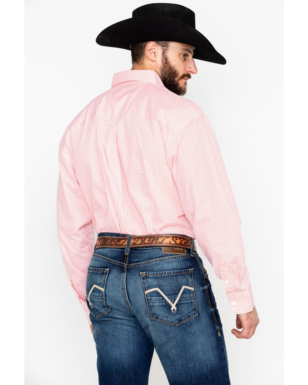 George Strait by Wrangler Men's Coral Long Sleeve Western Shirt, Coral, hi-res