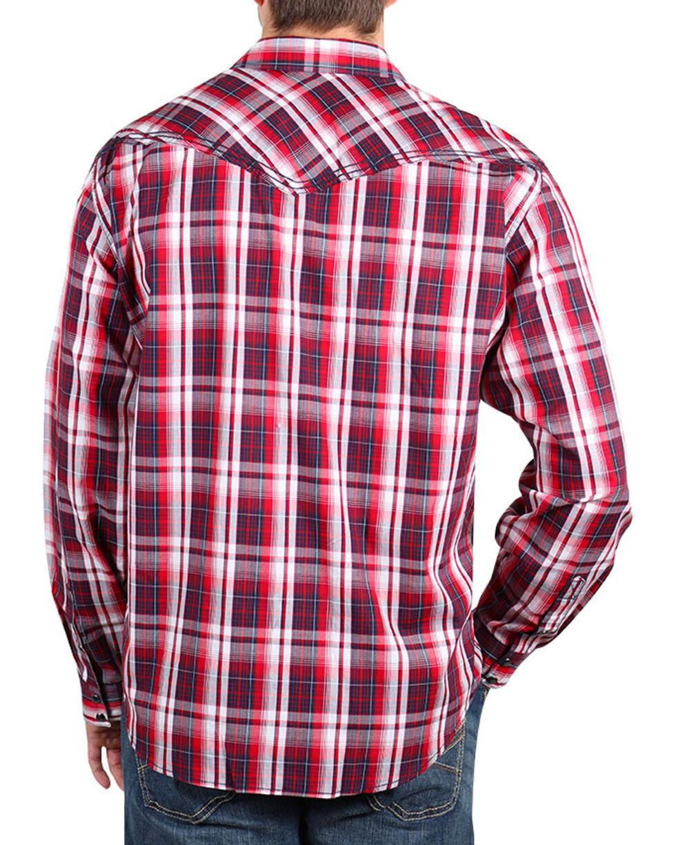 Cody James® Men's Americana Plaid Long Sleeve Shirt , Red, hi-res
