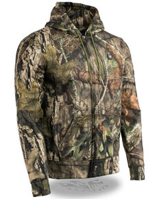 Milwaukee Leather Men's Mossy Oak Camo Zip Front Heated Hooded Sweatshirt , Moss Green, hi-res