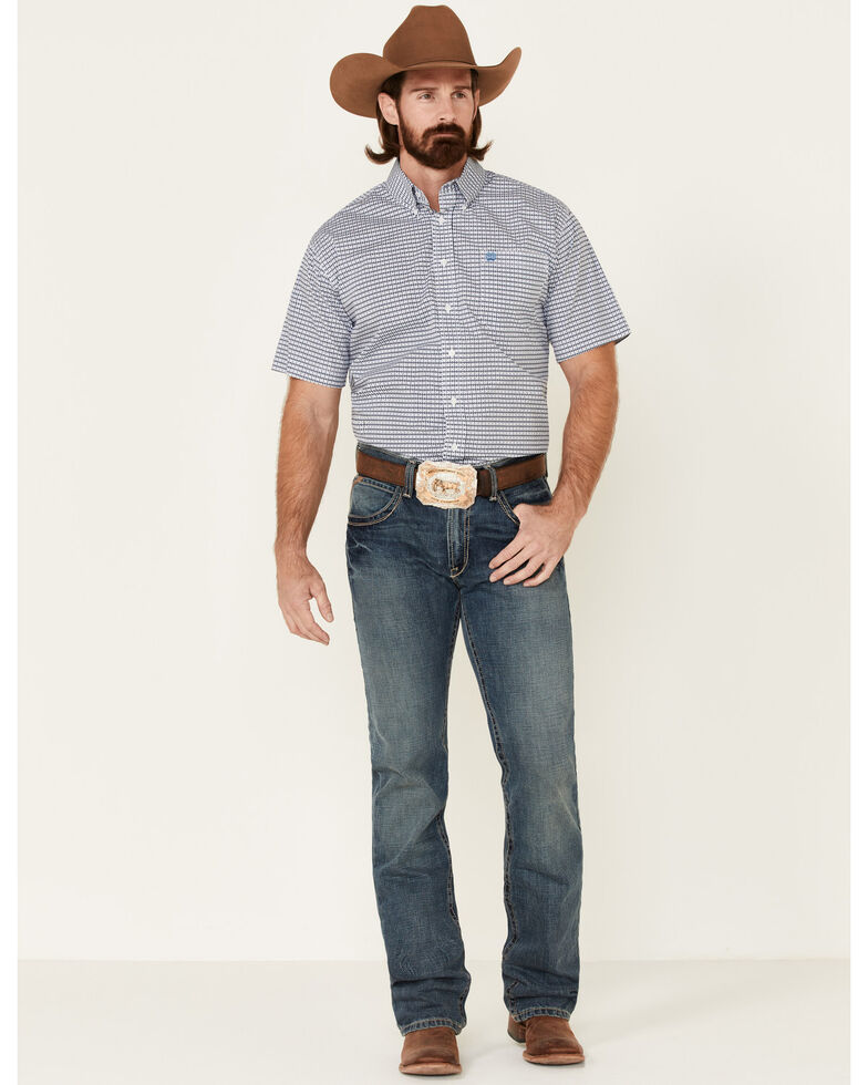 Cinch Men's Criss Cross Print Short Sleeve Western Shirt , White, hi-res