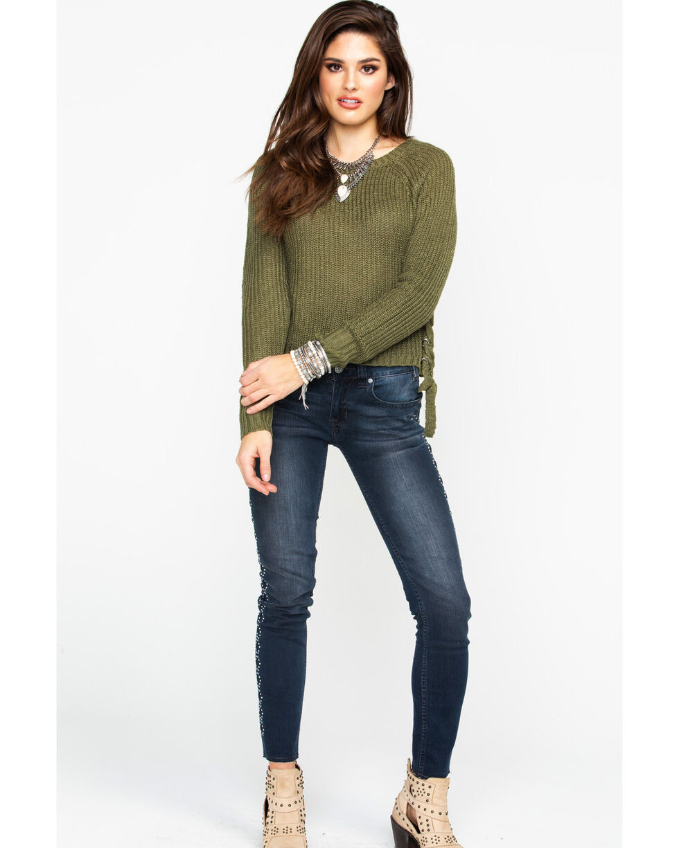 Eyeshadow Women's Cropped Pullover Lace Up Side Detailed Sweater , Olive, hi-res