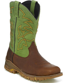 Tony Lama Men's Roustabout Green Waterproof Western Work Boots - Square Toe, Brown, hi-res