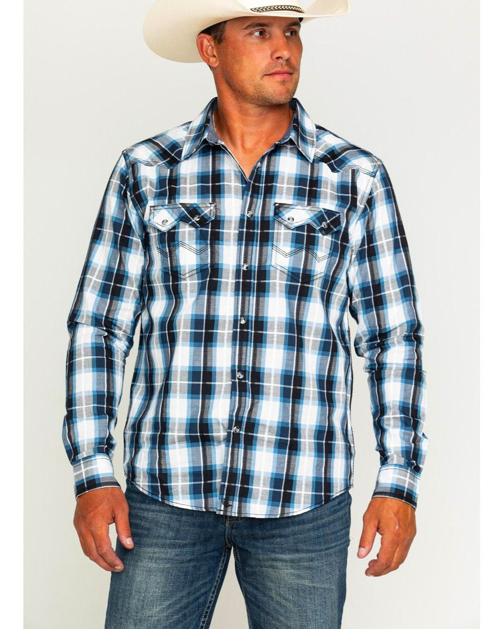 Cody James Men's Colton Black and Blue Plaid Shirt, White, hi-res