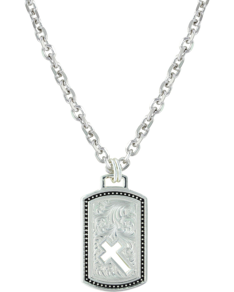 Montana Silversmiths Women's Pierced Token Of Faith With Cross Necklace , Silver, hi-res