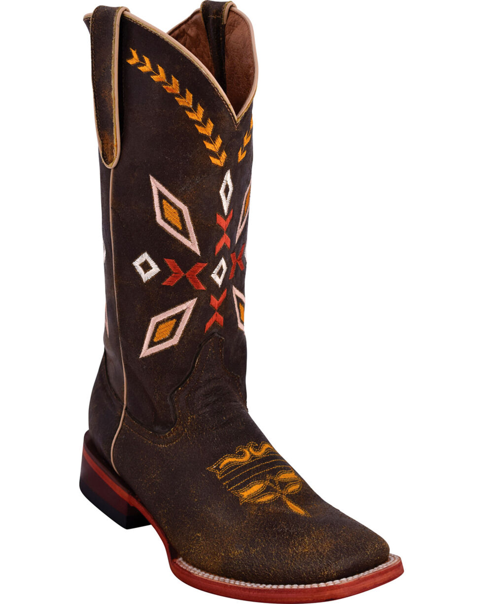 Ferrini Women's Autumn Distressed Brown Cowgirl Boots - Square Toe, Distressed Brown, hi-res