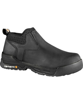 "Carhartt Force Men's 4"" Black Waterproof Work Shoes - Comp Toe, Black, hi-res"