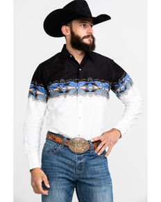 Ely Cattleman Men's Black Aztec Border Print Long Sleeve Western Shirt , Black, hi-res