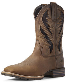 Ariat Men's Hybrid VentTEK Distressed Western Boots - Wide Square Toe, Brown, hi-res