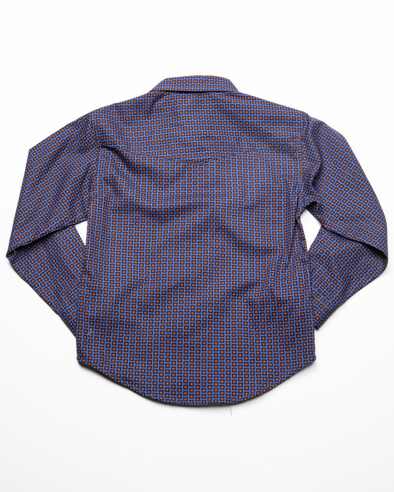 Roper Boys' Amarillo Geo Print Long Sleeve Western Shirt , Blue, hi-res