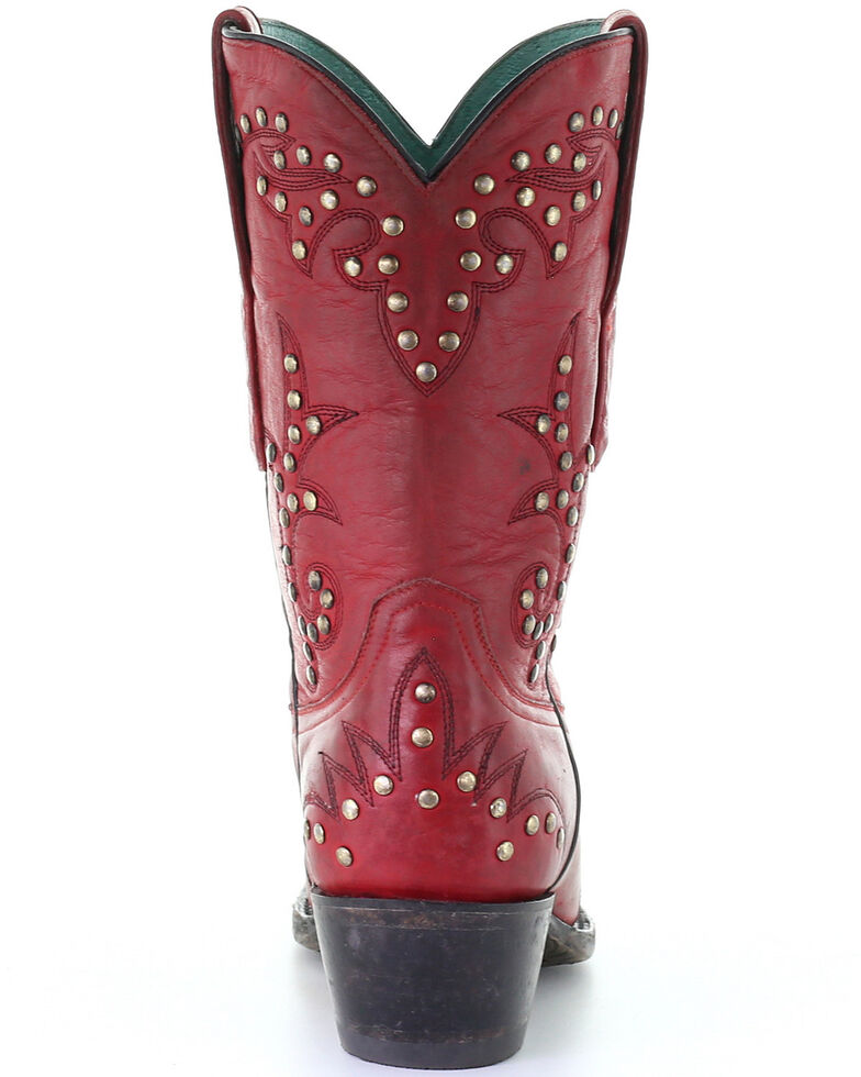 Corral Women's Studded Red Embroidery Western Boots - Snip Toe, Red, hi-res