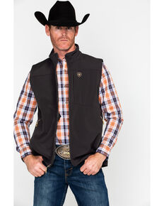 Ariat Men's Vernon Softshell Logo Vest, Brown, hi-res