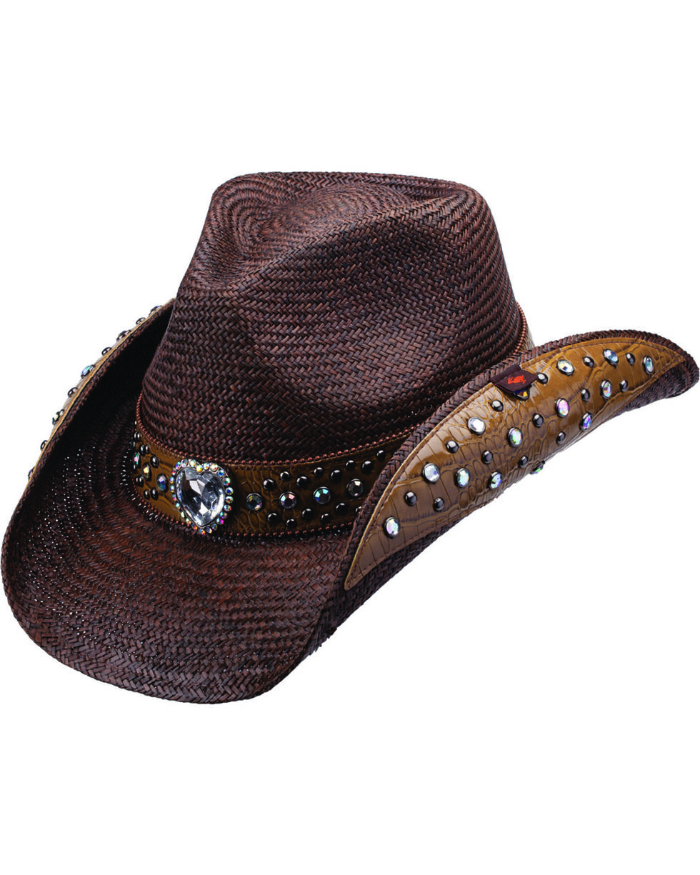 Peter Grimm Bela Heart and Stud Embellished Dark Brown Panama Straw Cowgirl Hat, Brown, hi-res