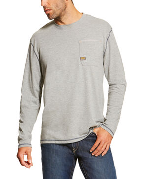 Ariat Men's Grey Rebar Crew Long Sleeve Pocket Tee - Big, Grey, hi-res