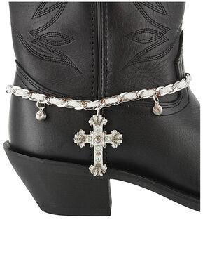 Shyanne® Women's Bronze Cross Boot Bracelet, Silver, hi-res