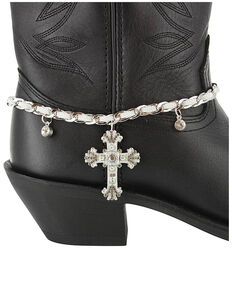 Shyanne® Women's Bronze Cross Boot Bracelet, Silver, hi-res