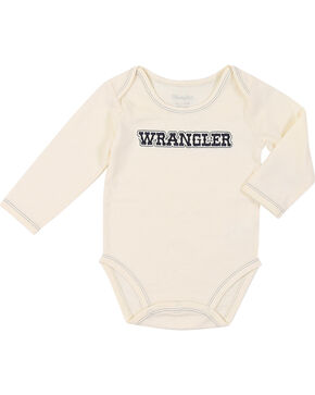 Wrangler Infant Boys' Long Sleeve Logo Bodysuit Onsie, Natural, hi-res