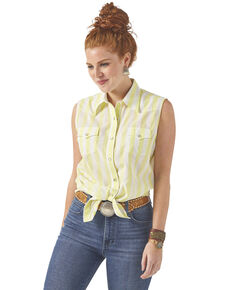 Wrangler Women's Sunny Lime Stripe Sleeveless Western Shirt, Yellow, hi-res