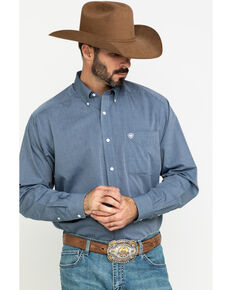 Ariat Men's Wrinkle Free Oxford Solid Long Sleeve Western Shirt , Navy, hi-res