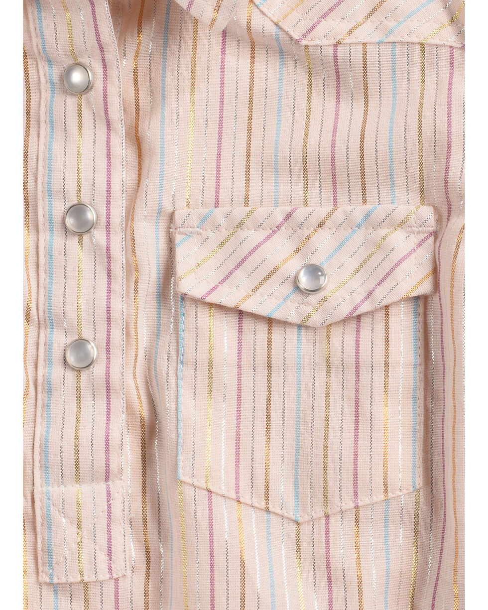 Shyanne Infant Girls' Lurex Striped Long Sleeve Onesie, Pink, hi-res