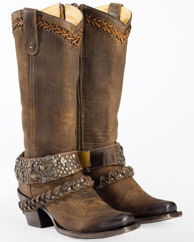 Corral Women's Woven Stud & Harness Boots - Square Toe, , hi-res