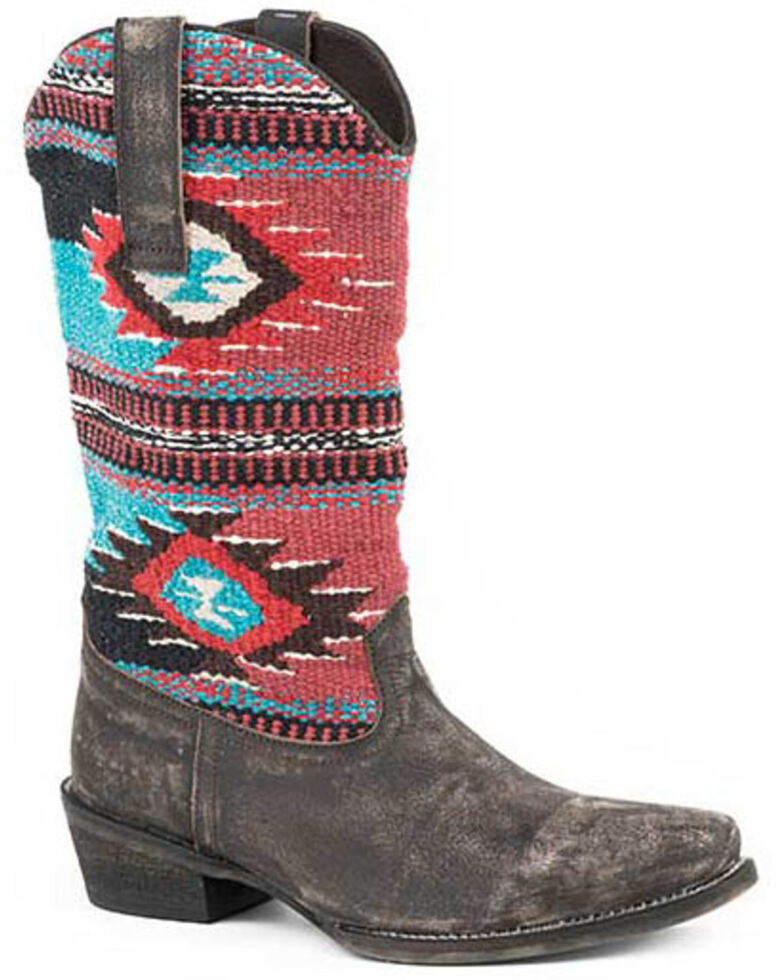 Roper Women's Aztec Embroidery Western Boots - Round Toe, Brown, hi-res