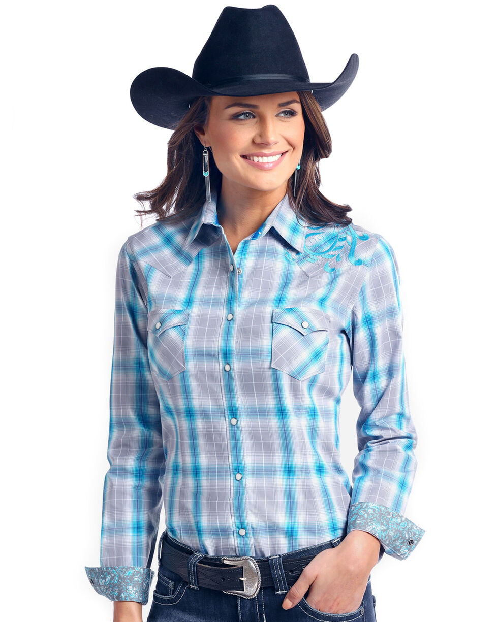 Rough Stock by Panhandle Women's Dempsey Vintage Ombre Plaid Western Shirt, Multi, hi-res