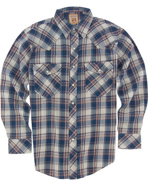 Resistol Men's Blue Fargo Plaid Long Sleeve Shirt , Blue, hi-res