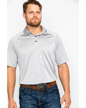 Ariat Men's TEK Silver Lining Charger Short Sleeve Polo Shirt , Grey, hi-res