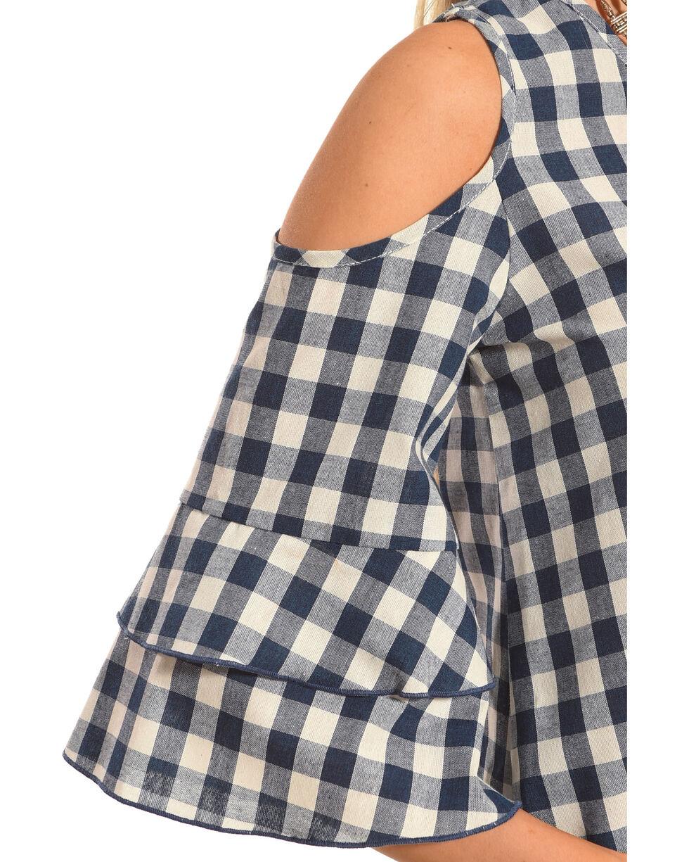 Ces Femme Women's Plaid Cold Shoulder Top, , hi-res