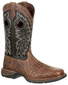 Durango Men's Rebel Faux Elephant Grain Western Boots - Square Toe, Chocolate, hi-res