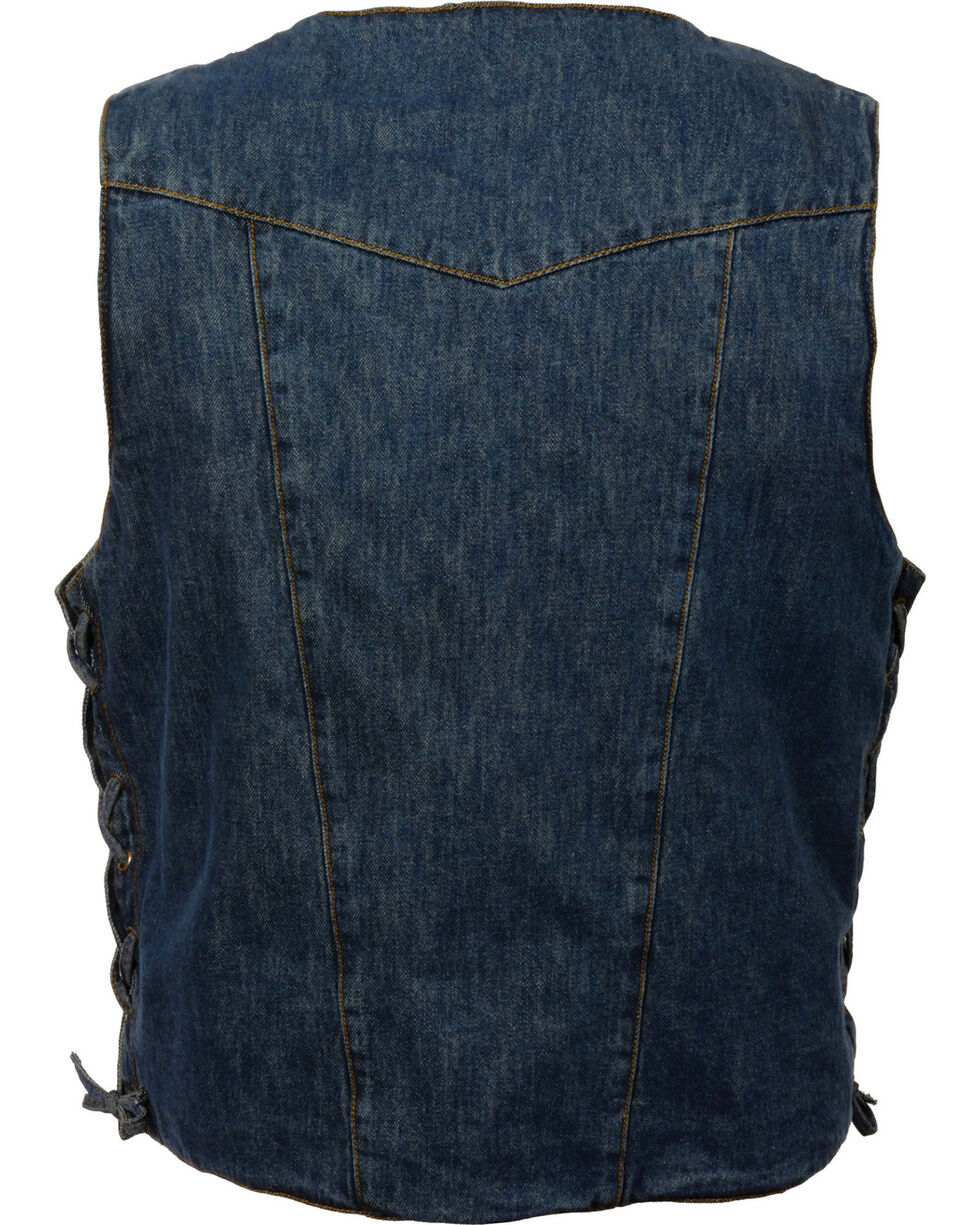 Milwaukee Leather Men's 10 Pocket Side Lace Denim Vest - 4X, , hi-res