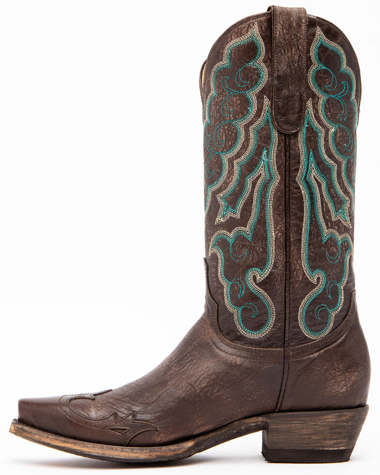 Idyllwind Women's Roanoke Western Performance Boots - Snip Toe, Chocolate/turquoise, hi-res