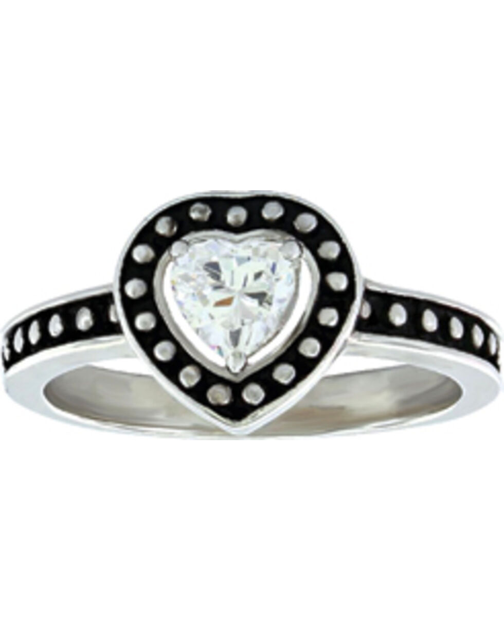 Montana Silversmiths Women's Pin Point Framed Heart Ring  , Silver, hi-res
